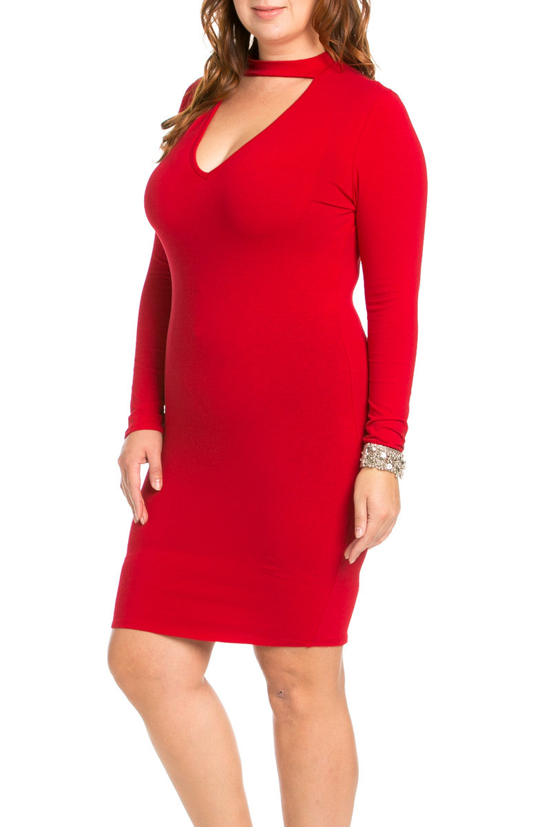 Deep V Neck Choker Plus Size Mini Dress Red - Dresses - My Yuccie - 2
