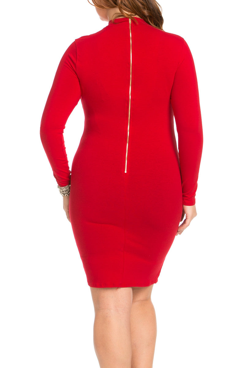 Deep V Neck Choker Plus Size Mini Dress Red - Dresses - My Yuccie - 3