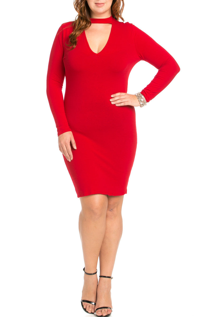 Deep V Neck Choker Plus Size Mini Dress Red - Dresses - My Yuccie - 4