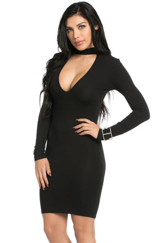 Choker Mini Dress Black - Dresses - My Yuccie - 1