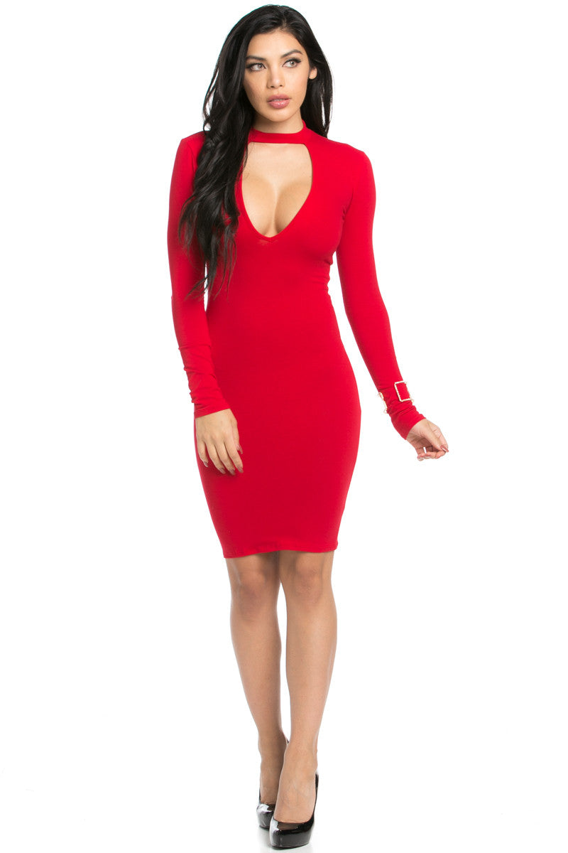 Choker Mini Dress Red - Dresses - My Yuccie - 8