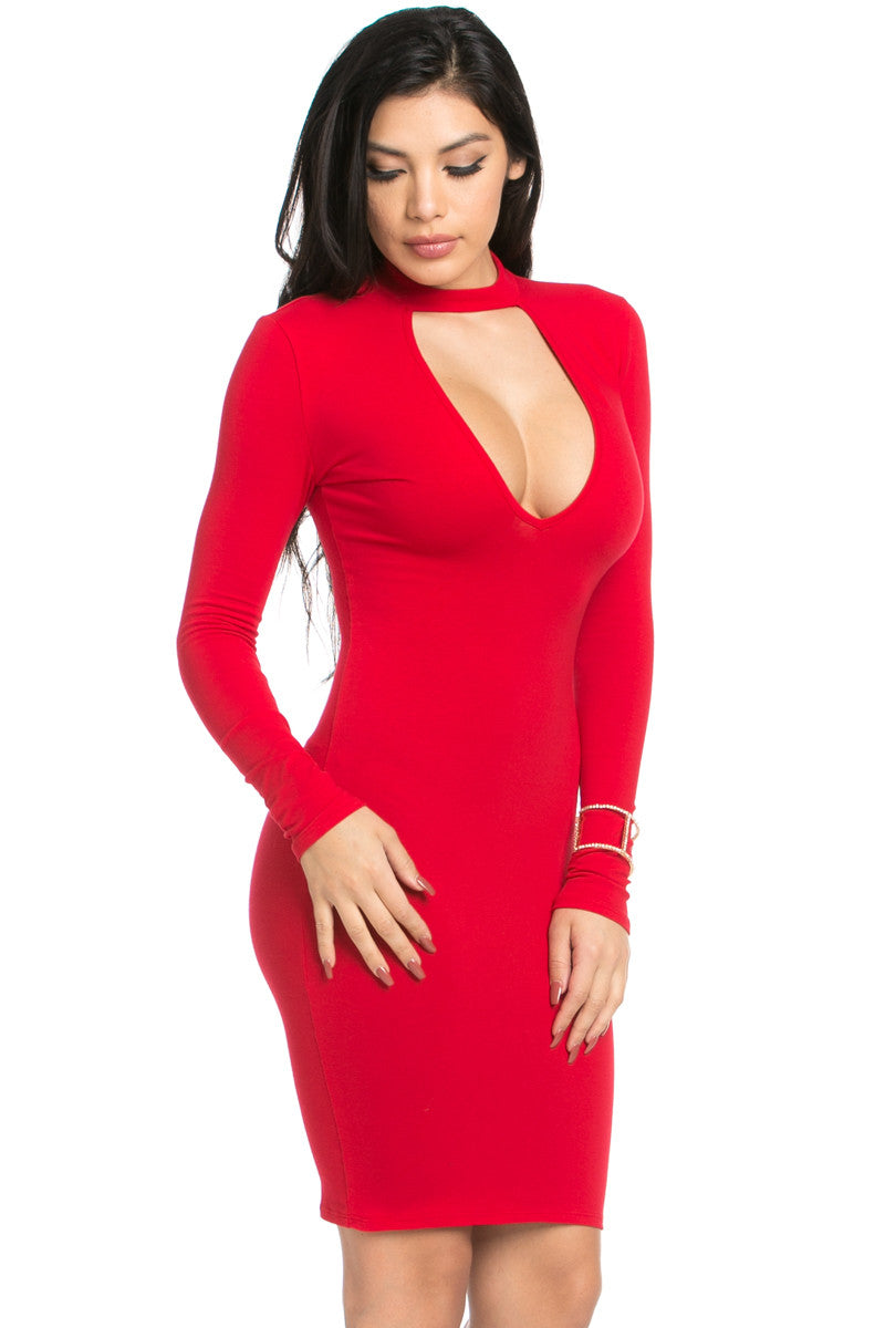 Choker Mini Dress Red - Dresses - My Yuccie - 5