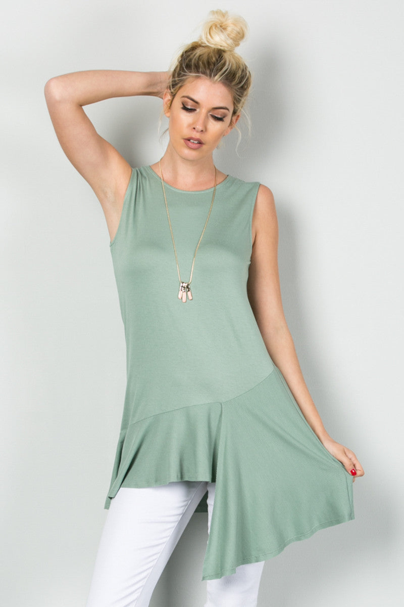 Classic Ruffle Flapper Tunic Moss Green - Tops - My Yuccie - 1