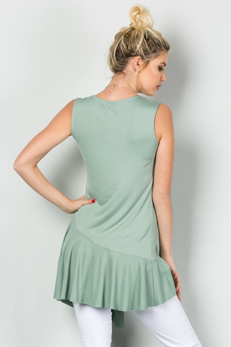 Classic Ruffle Flapper Tunic Moss Green - Tops - My Yuccie - 4