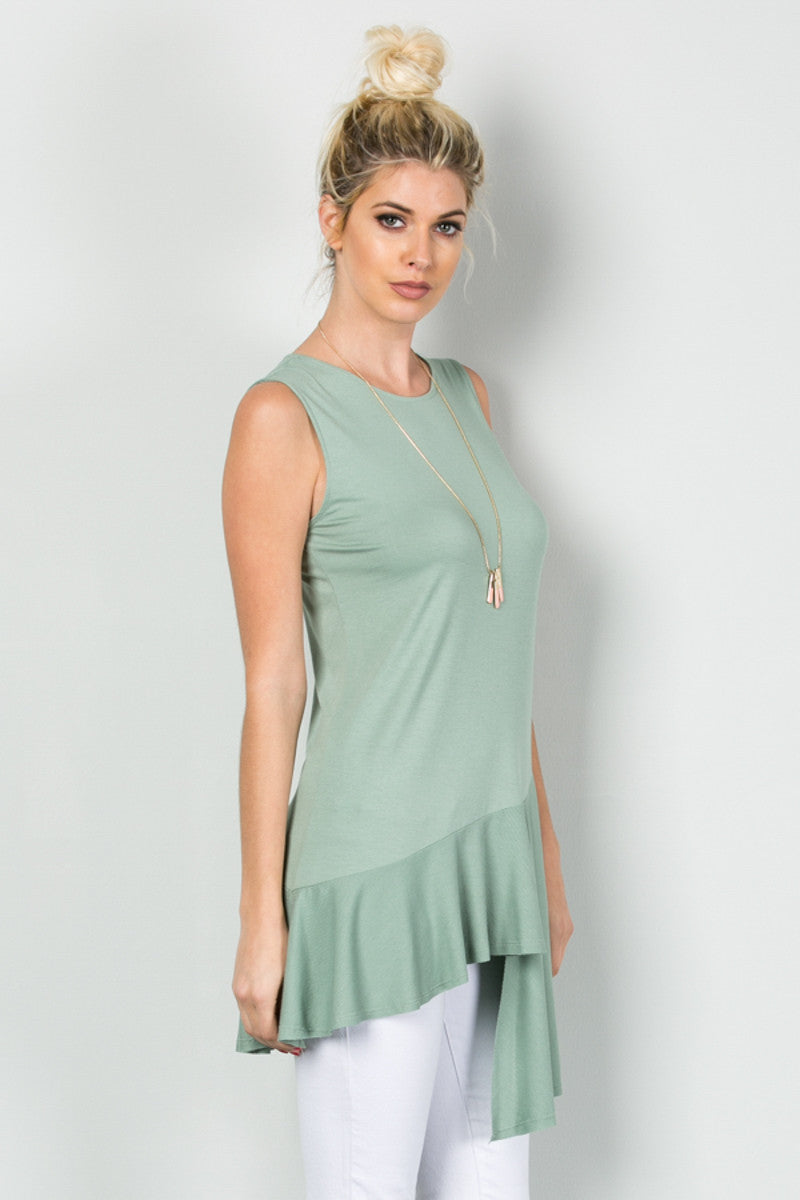 Classic Ruffle Flapper Tunic Moss Green - Tops - My Yuccie - 5