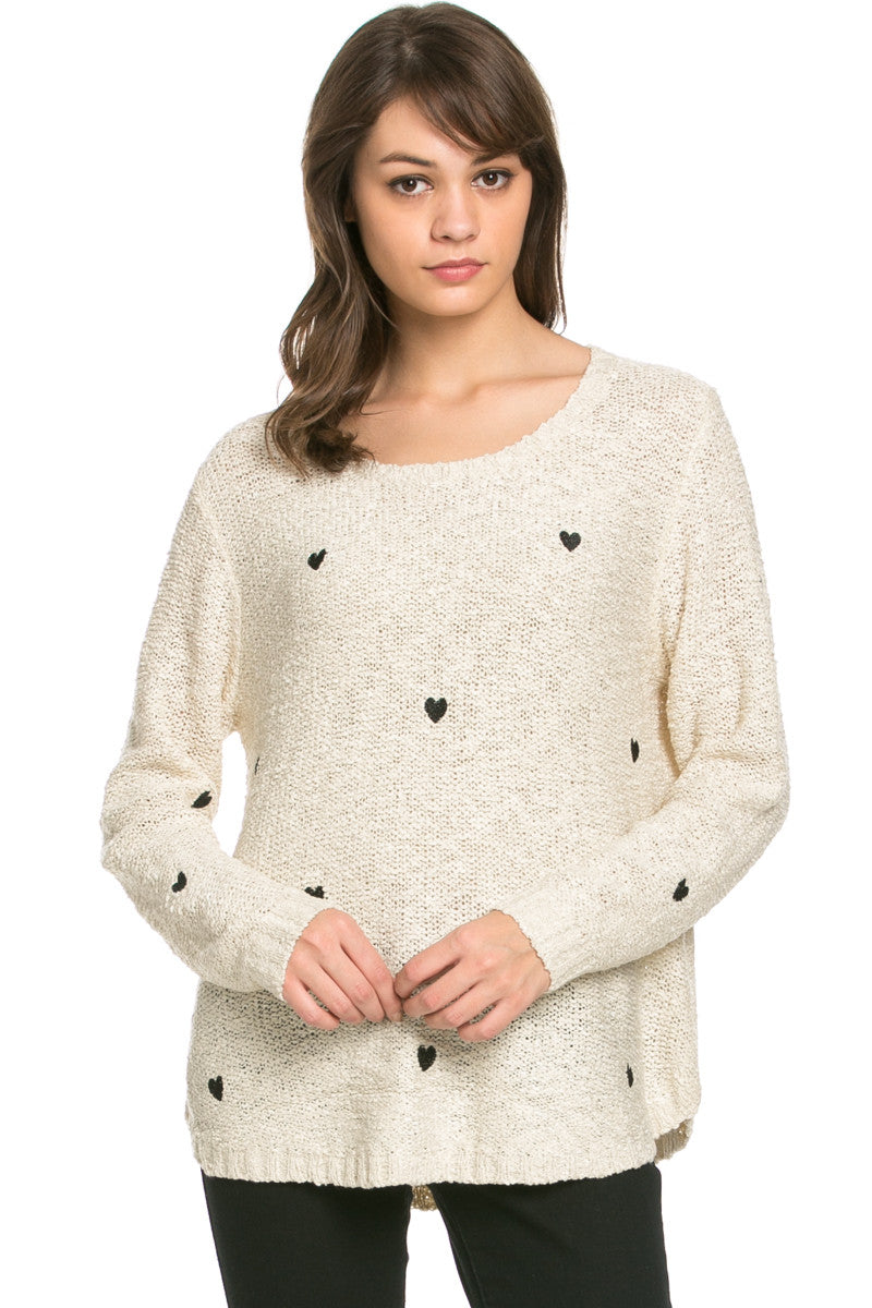 Love Heart Knitted Sweater Beige - Sweaters - My Yuccie - 1