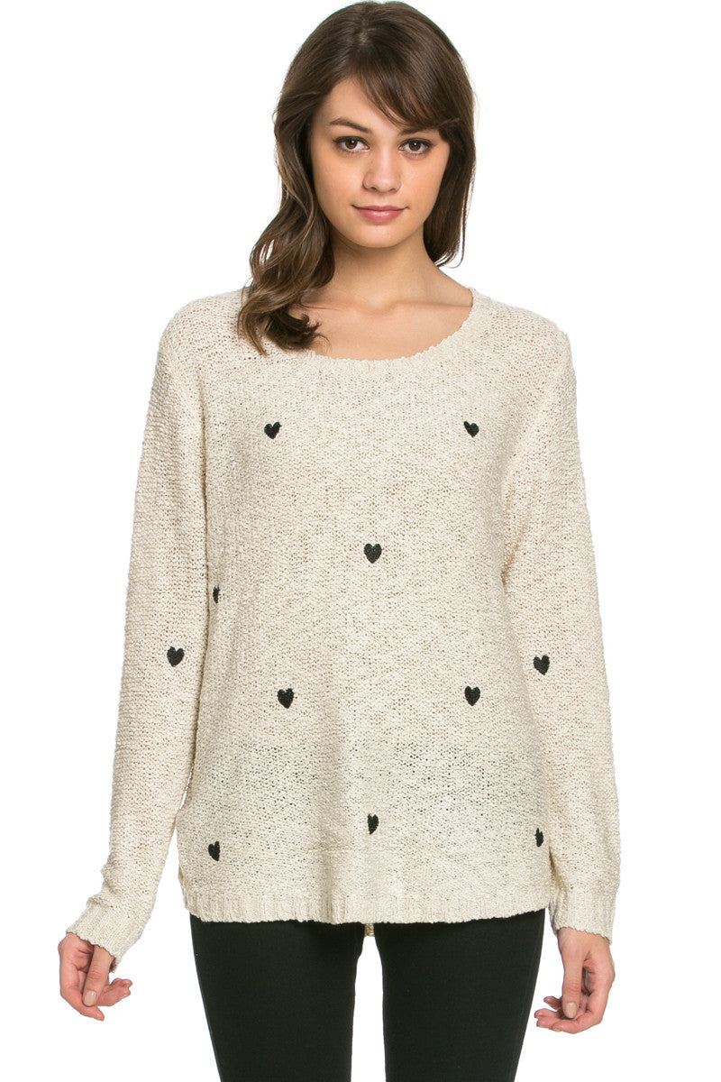 Love Heart Knitted Sweater Beige - Sweaters - My Yuccie - 2