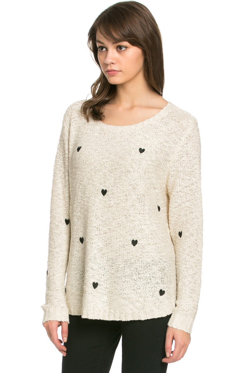 Love Heart Knitted Sweater Beige - Sweaters - My Yuccie - 3