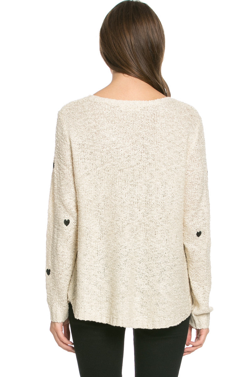 Love Heart Knitted Sweater Beige - Sweaters - My Yuccie - 4