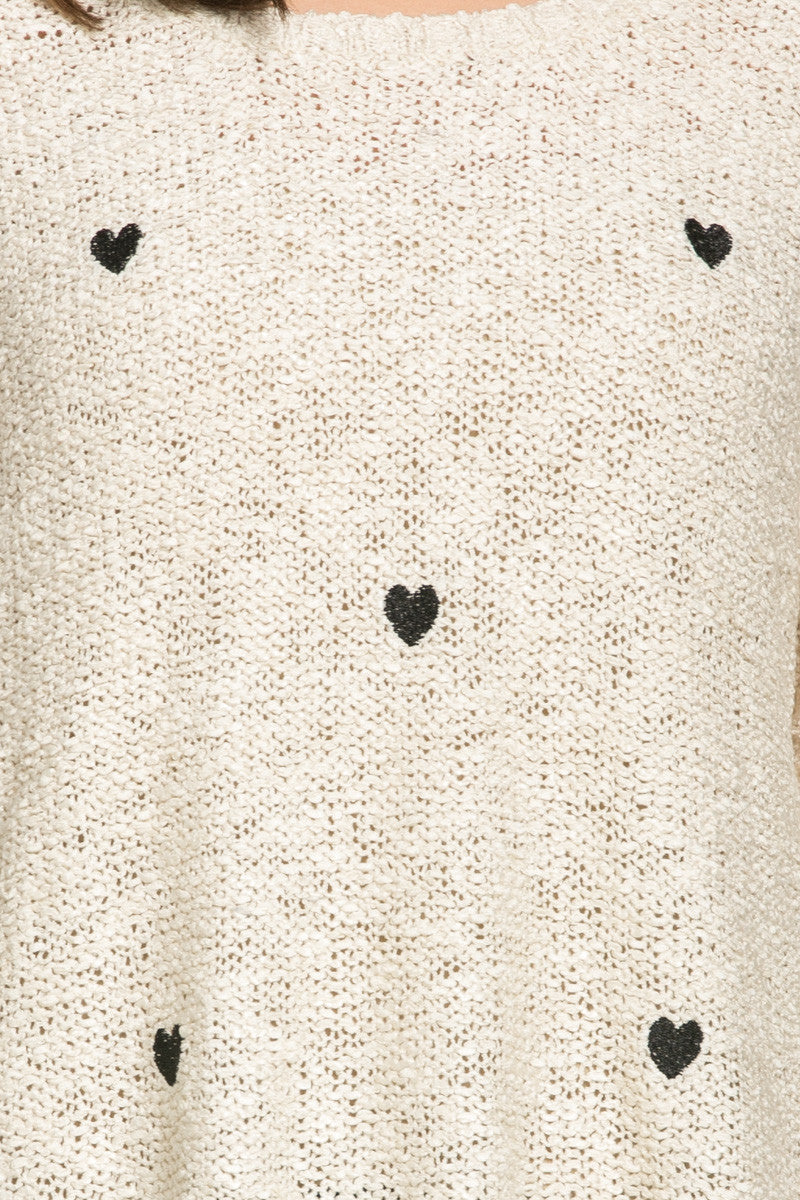 Love Heart Knitted Sweater Beige - Sweaters - My Yuccie - 7