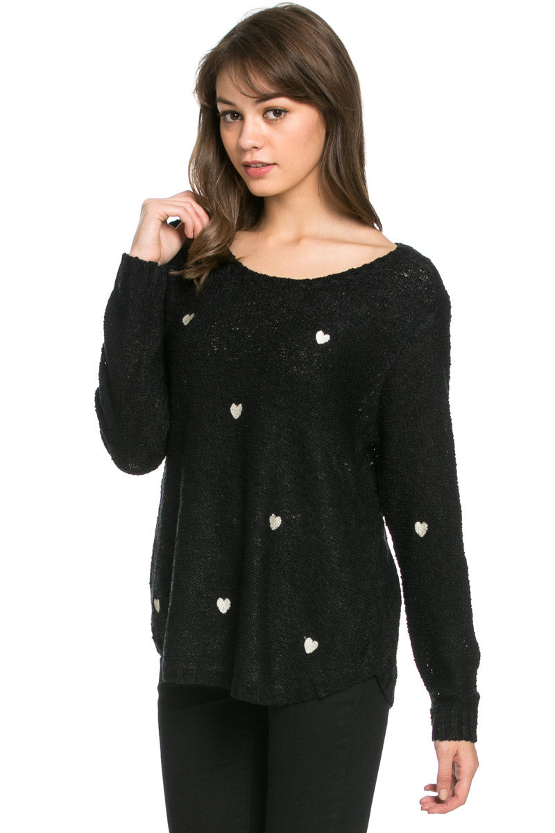 Love Heart Knitted Sweater Black - Sweaters - My Yuccie - 2