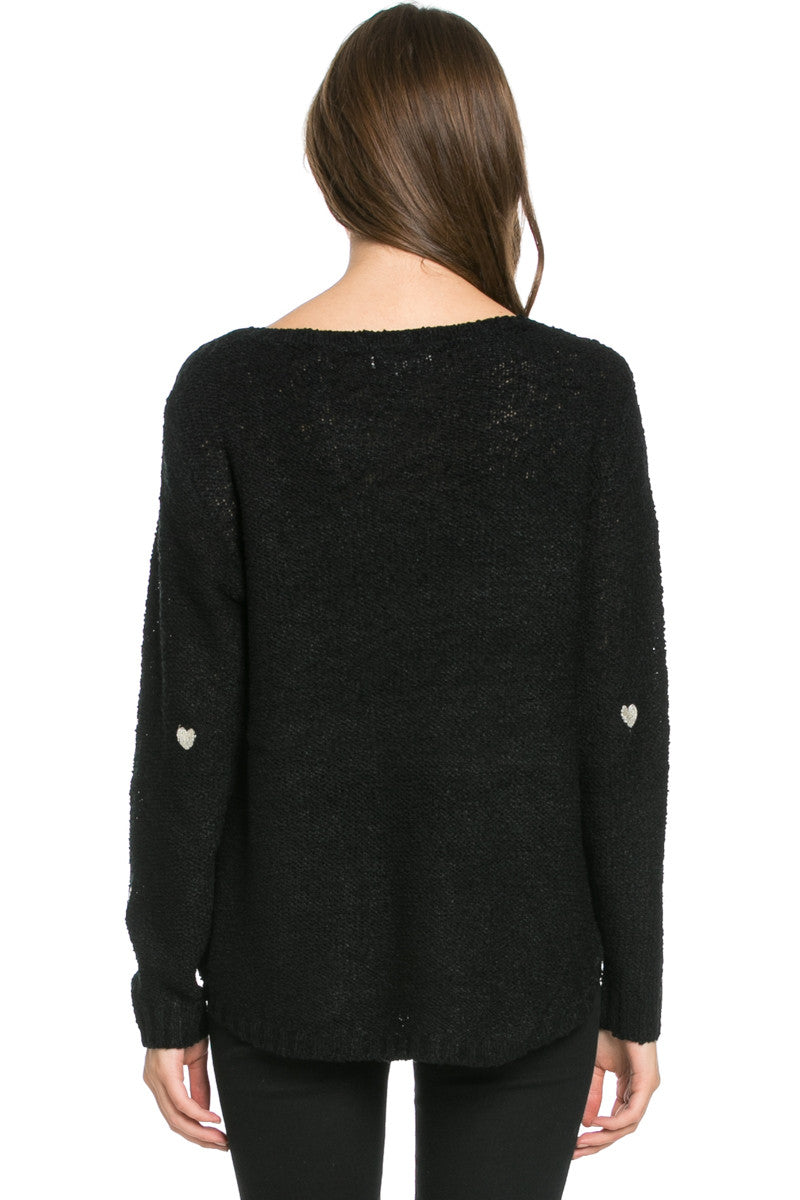 Love Heart Knitted Sweater Black - Sweaters - My Yuccie - 3