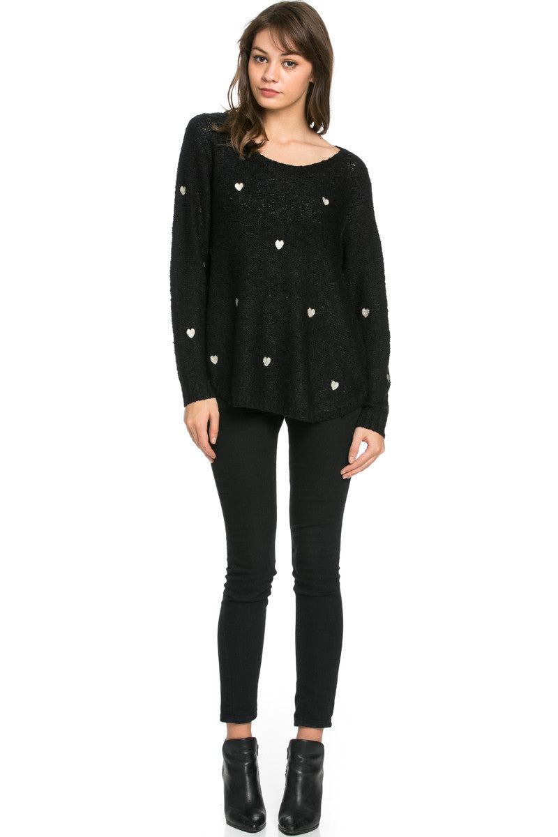 Love Heart Knitted Sweater Black - Sweaters - My Yuccie - 4