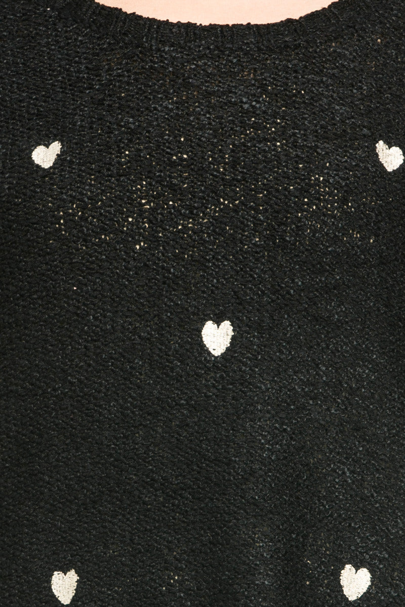 Love Heart Knitted Sweater Black - Sweaters - My Yuccie - 6