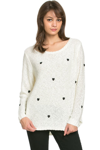 Love Heart Knitted Sweater White - Sweaters - My Yuccie - 1
