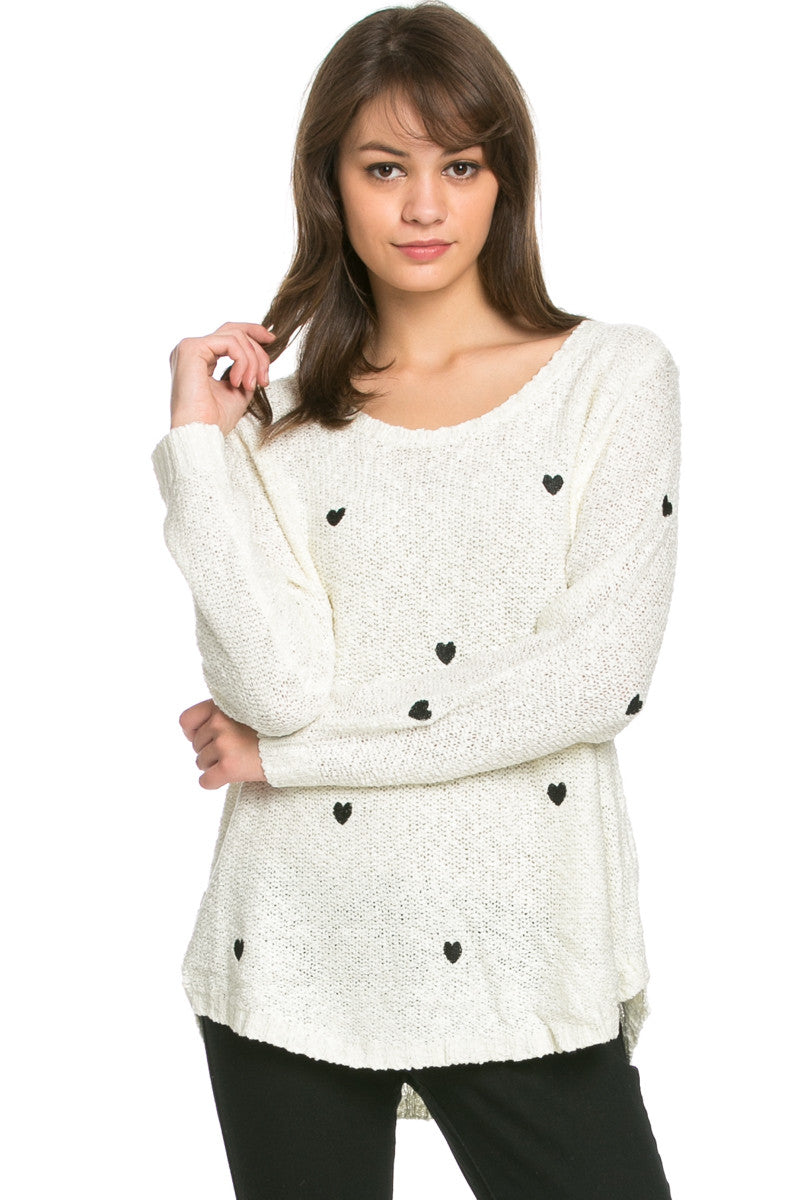 Love Heart Knitted Sweater White - Sweaters - My Yuccie - 2