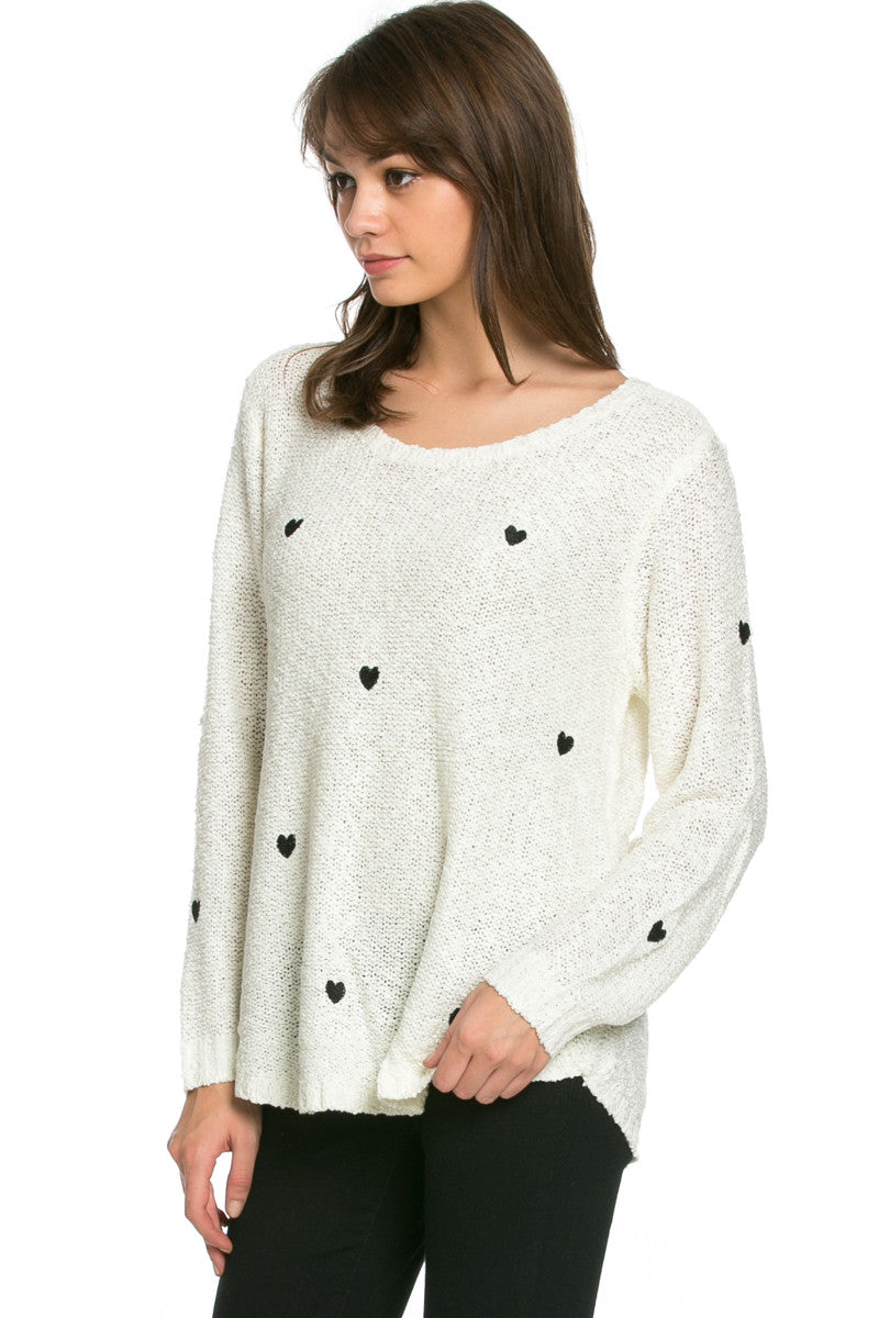 Love Heart Knitted Sweater White - Sweaters - My Yuccie - 3