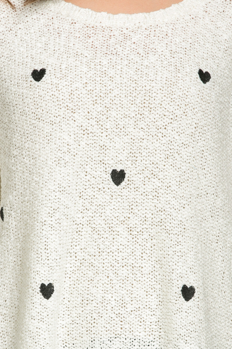 Love Heart Knitted Sweater White - Sweaters - My Yuccie - 7