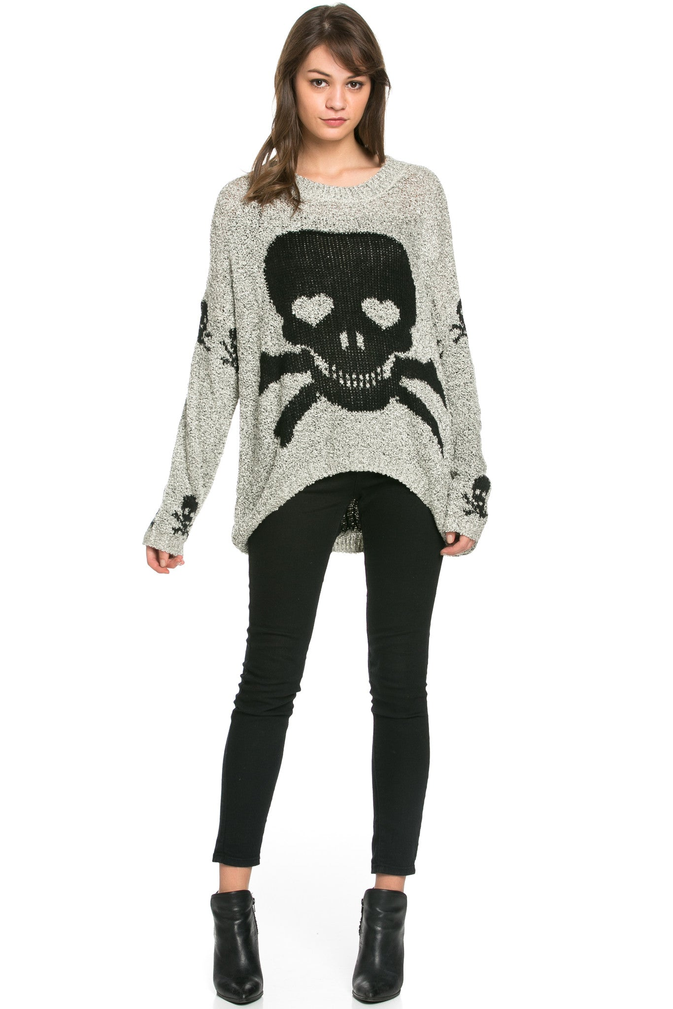 Skulls All Around Oversized Sweater Beige - Sweaters - My Yuccie - 7