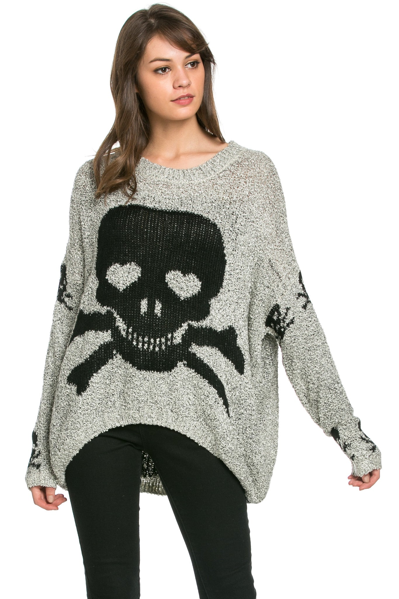 Skulls All Around Oversized Sweater Beige - Sweaters - My Yuccie - 1