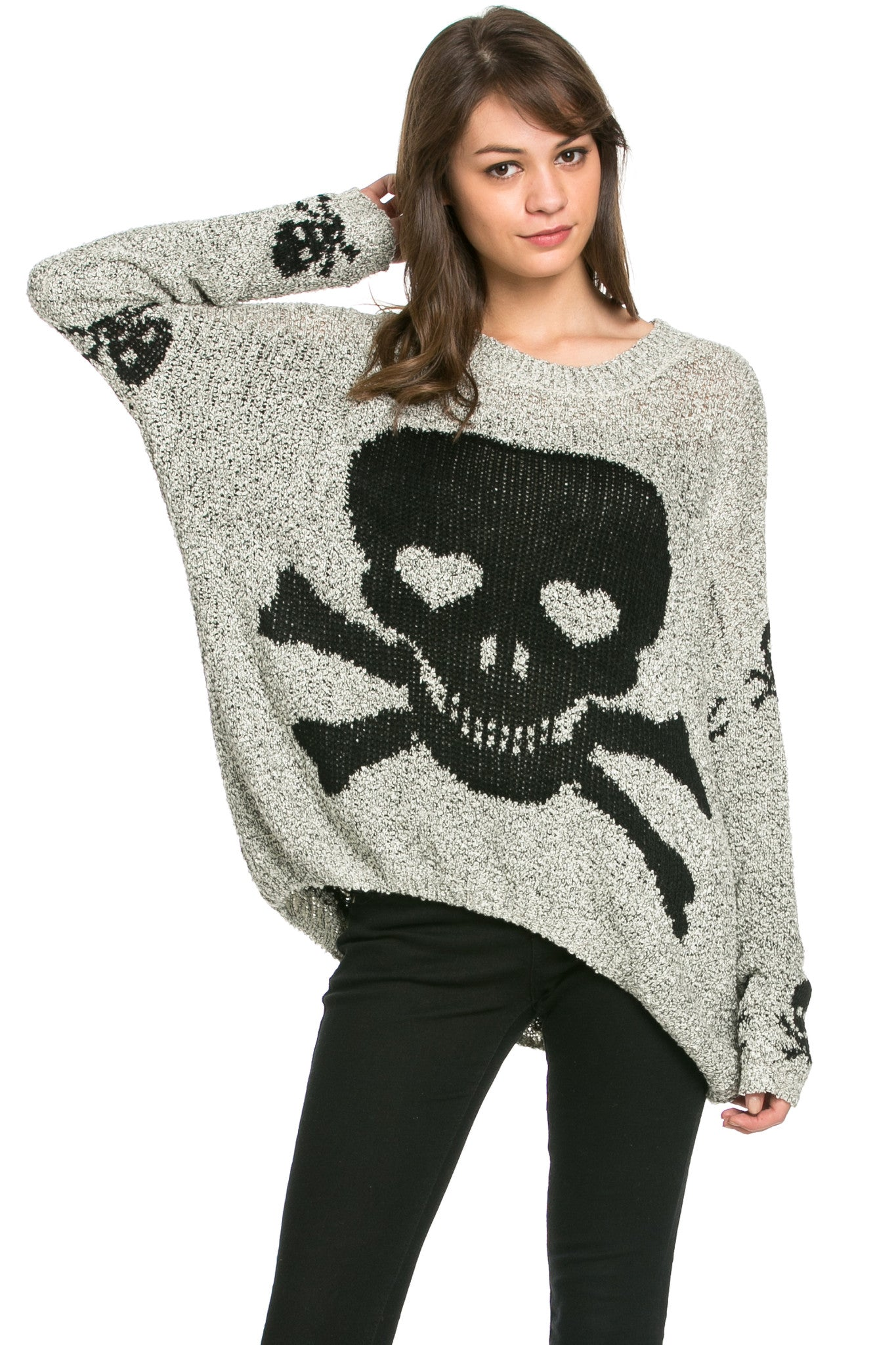 Skulls All Around Oversized Sweater Beige - Sweaters - My Yuccie - 2