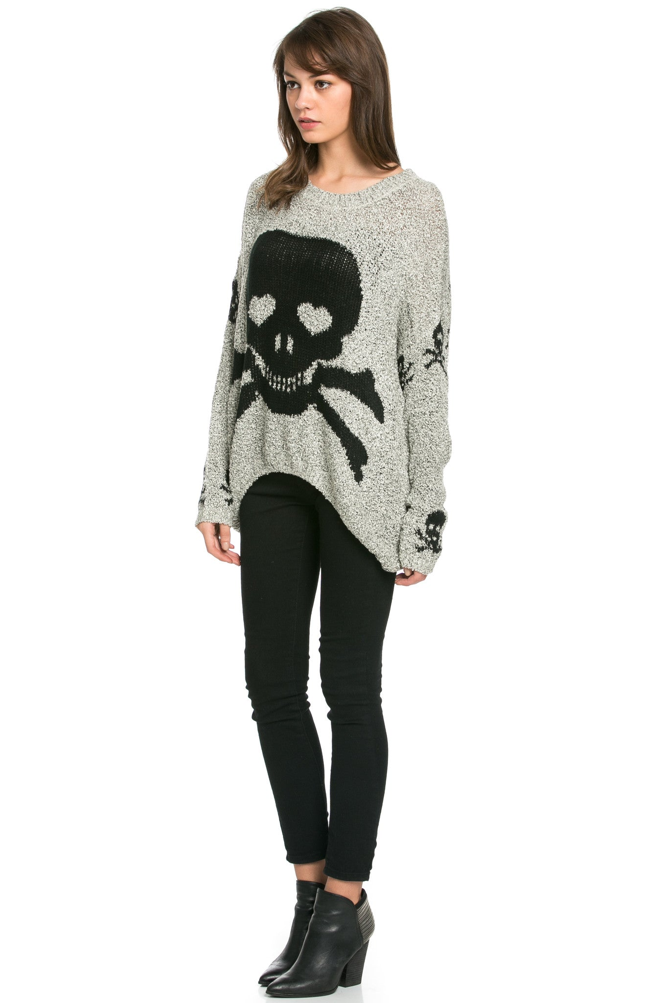 Skulls All Around Oversized Sweater Beige - Sweaters - My Yuccie - 3