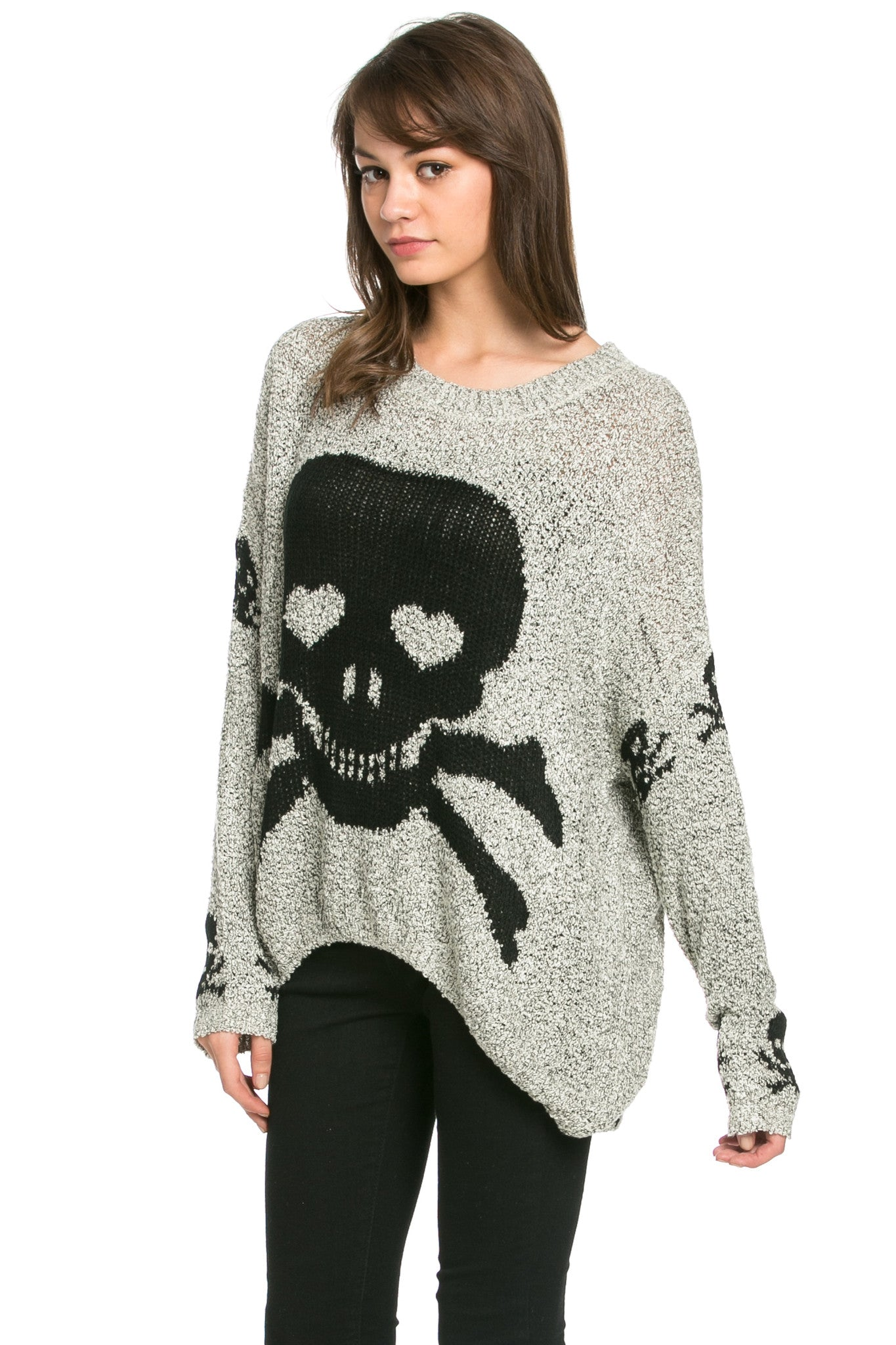 Skulls All Around Oversized Sweater Beige - Sweaters - My Yuccie - 4