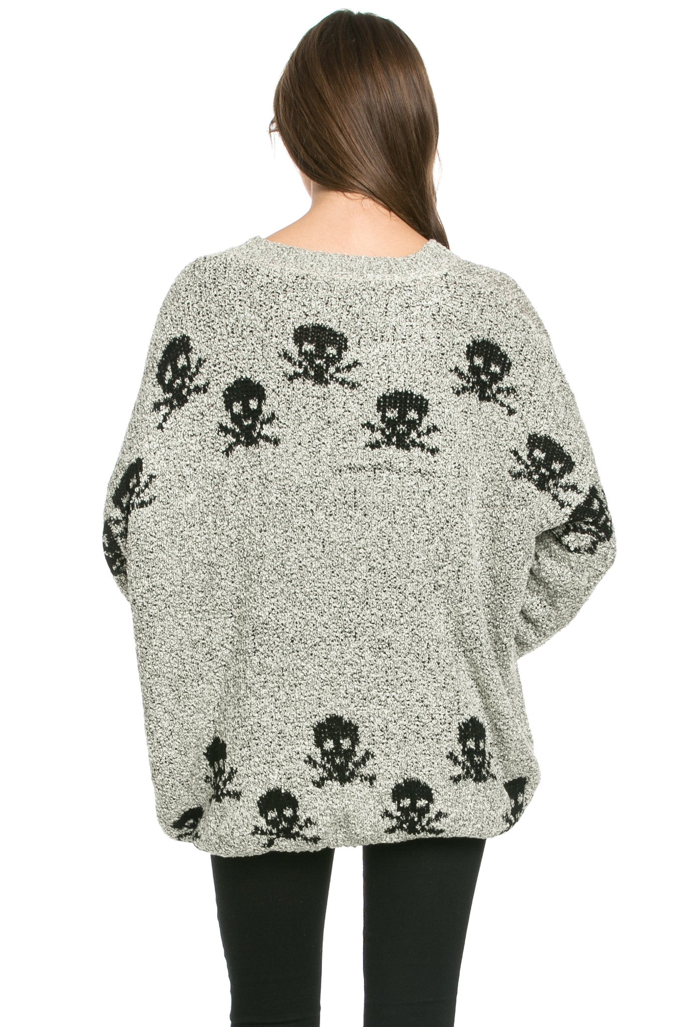 Skulls All Around Oversized Sweater Beige - Sweaters - My Yuccie - 5