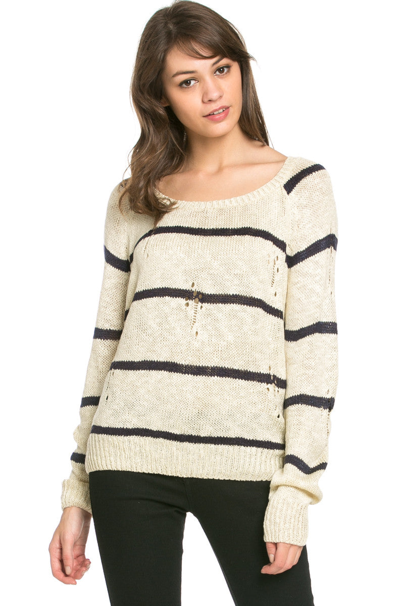 Round Neck Striped Sweaters Beige - Sweaters - My Yuccie - 1