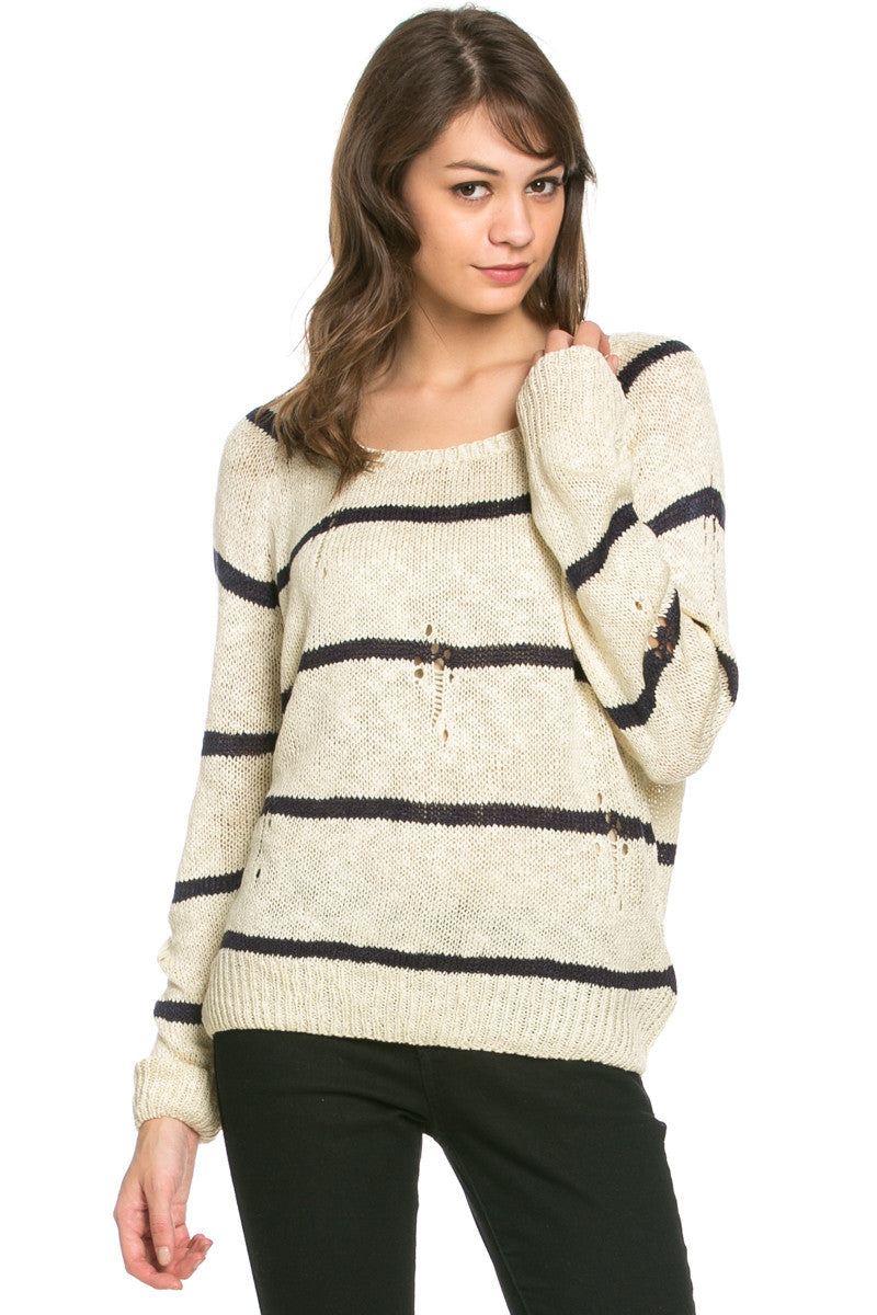 Round Neck Striped Sweaters Beige - Sweaters - My Yuccie - 2