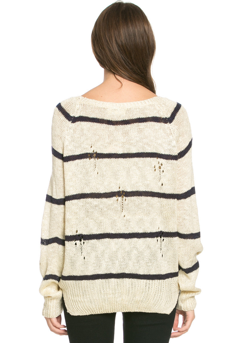 Round Neck Striped Sweaters Beige - Sweaters - My Yuccie - 4