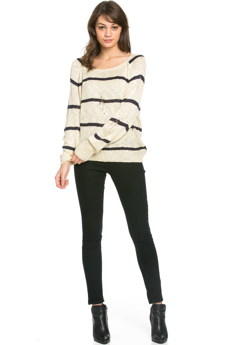 Round Neck Striped Sweaters Beige - Sweaters - My Yuccie - 6