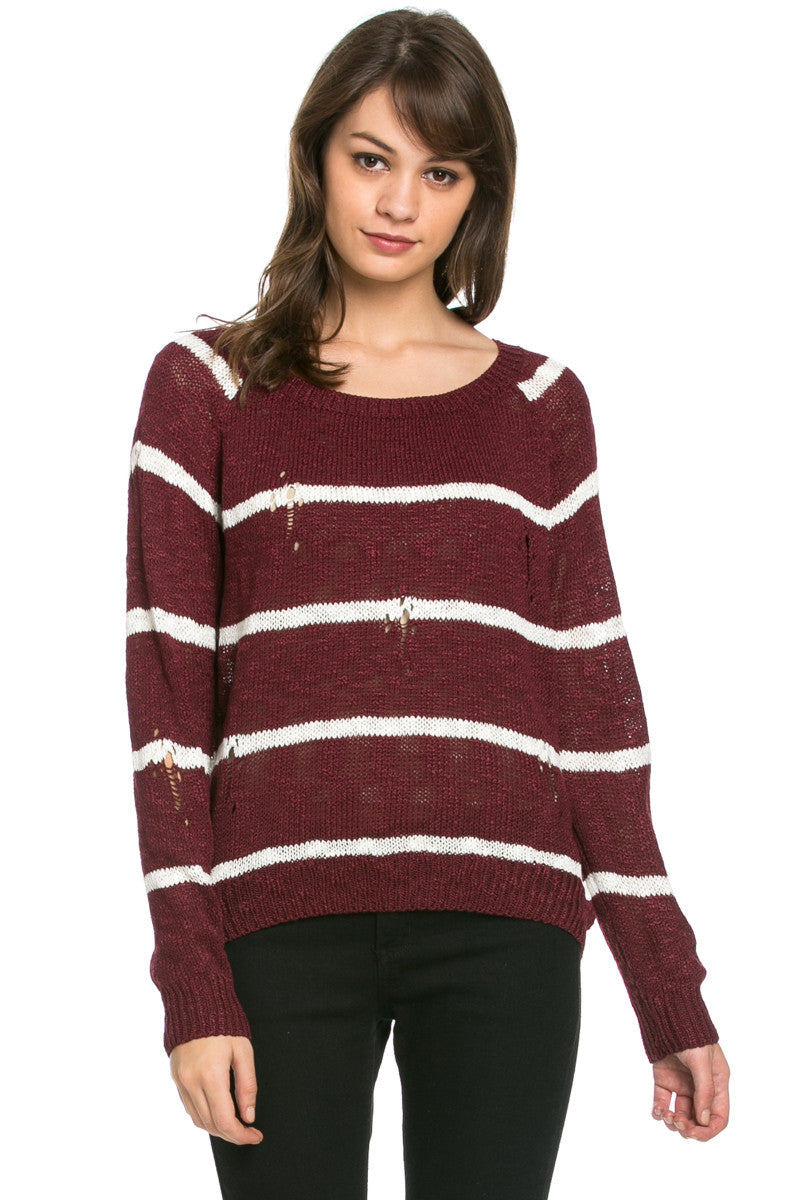 Round Neck Striped Sweaters Burgundy - Sweaters - My Yuccie - 1