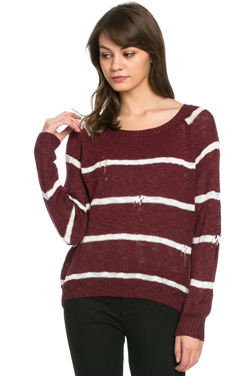 Round Neck Striped Sweaters Burgundy - Sweaters - My Yuccie - 2
