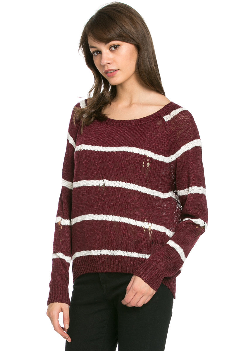 Round Neck Striped Sweaters Burgundy - Sweaters - My Yuccie - 3