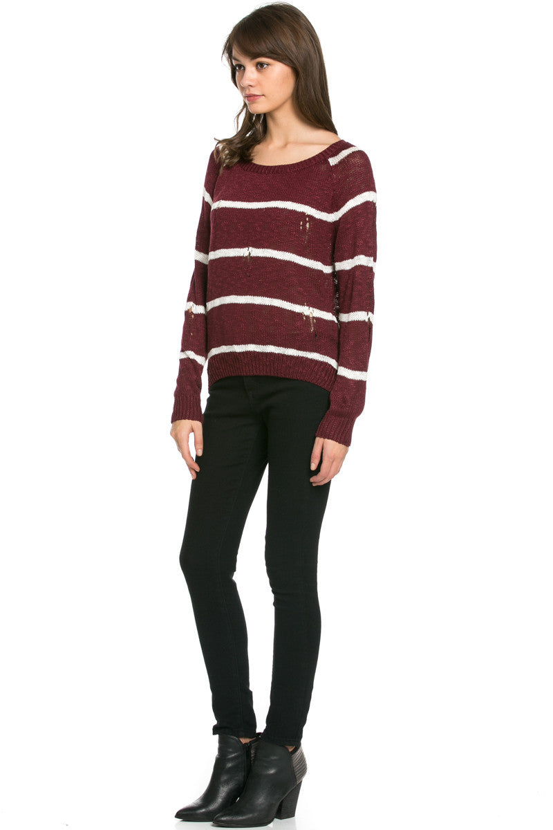 Round Neck Striped Sweaters Burgundy - Sweaters - My Yuccie - 4