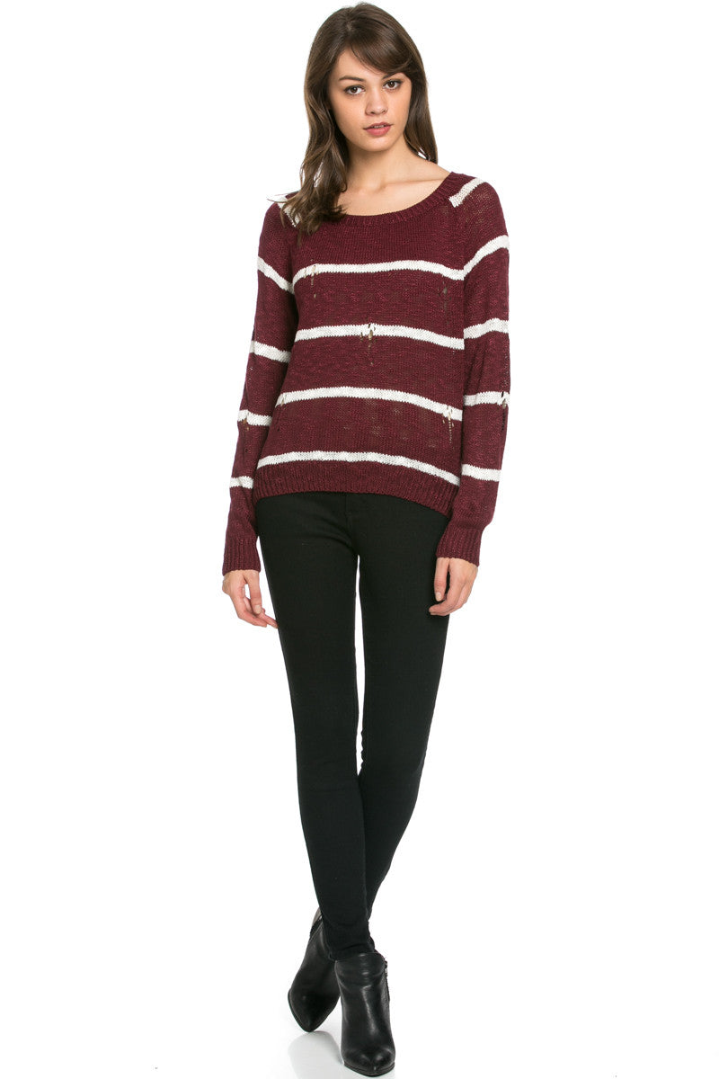 Round Neck Striped Sweaters Burgundy - Sweaters - My Yuccie - 5