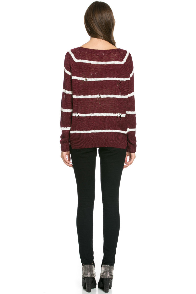 Round Neck Striped Sweaters Burgundy - Sweaters - My Yuccie - 6