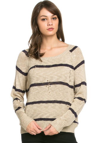Round Neck Striped Sweaters Coffee - Sweaters - My Yuccie - 1