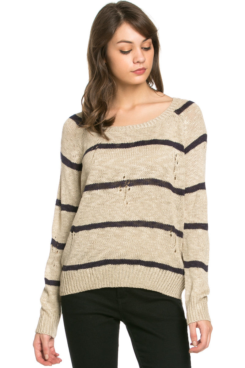 Round Neck Striped Sweaters Coffee - Sweaters - My Yuccie - 2