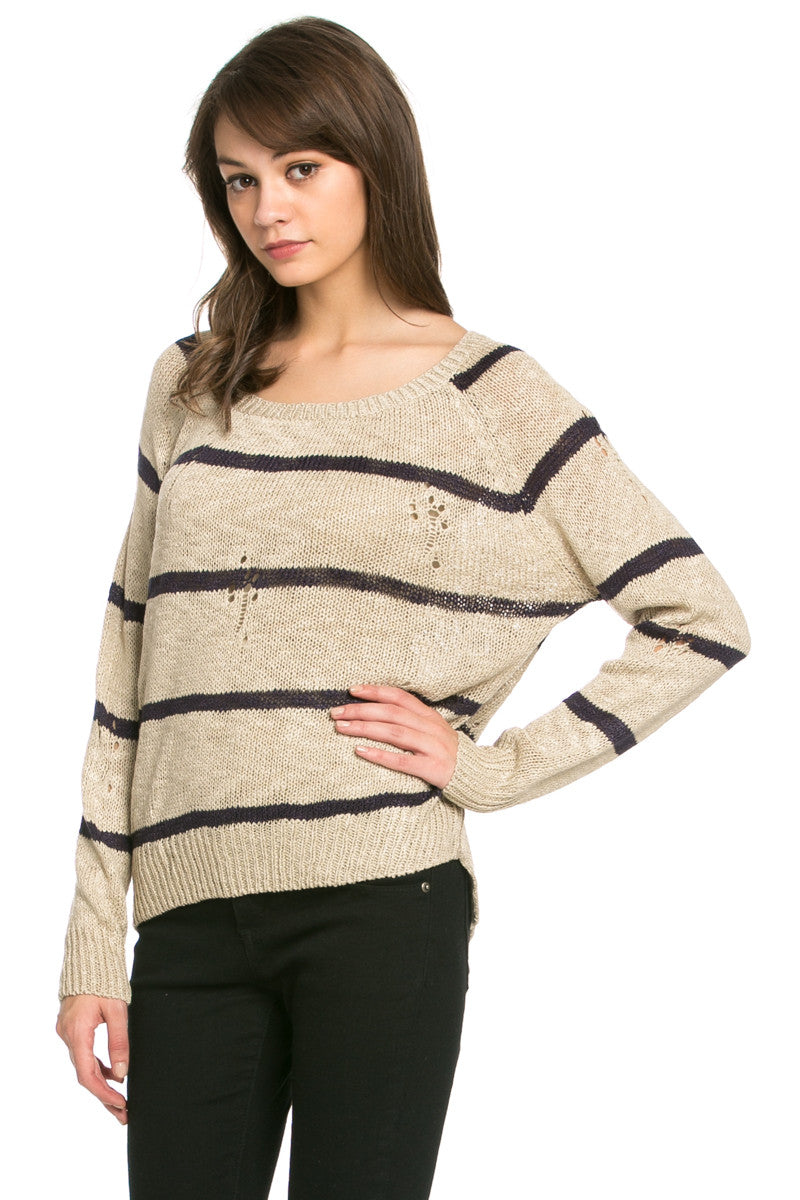 Round Neck Striped Sweaters Coffee - Sweaters - My Yuccie - 3
