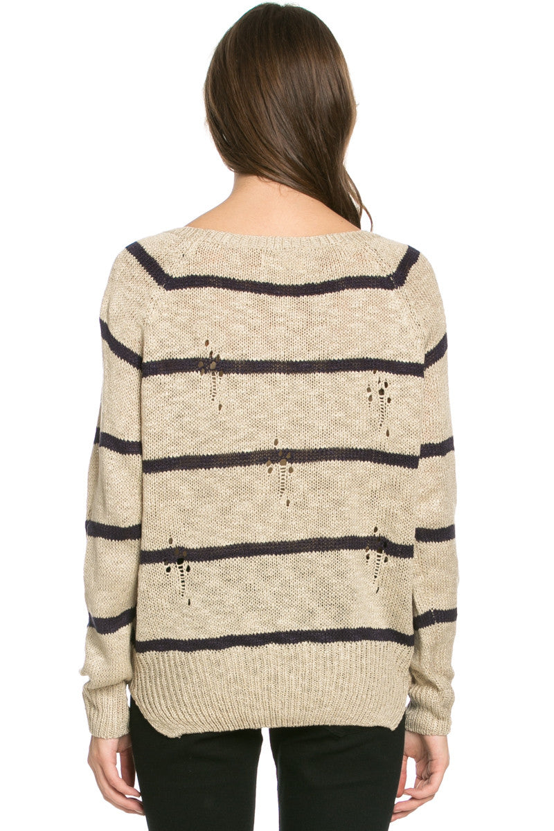 Round Neck Striped Sweaters Coffee - Sweaters - My Yuccie - 4