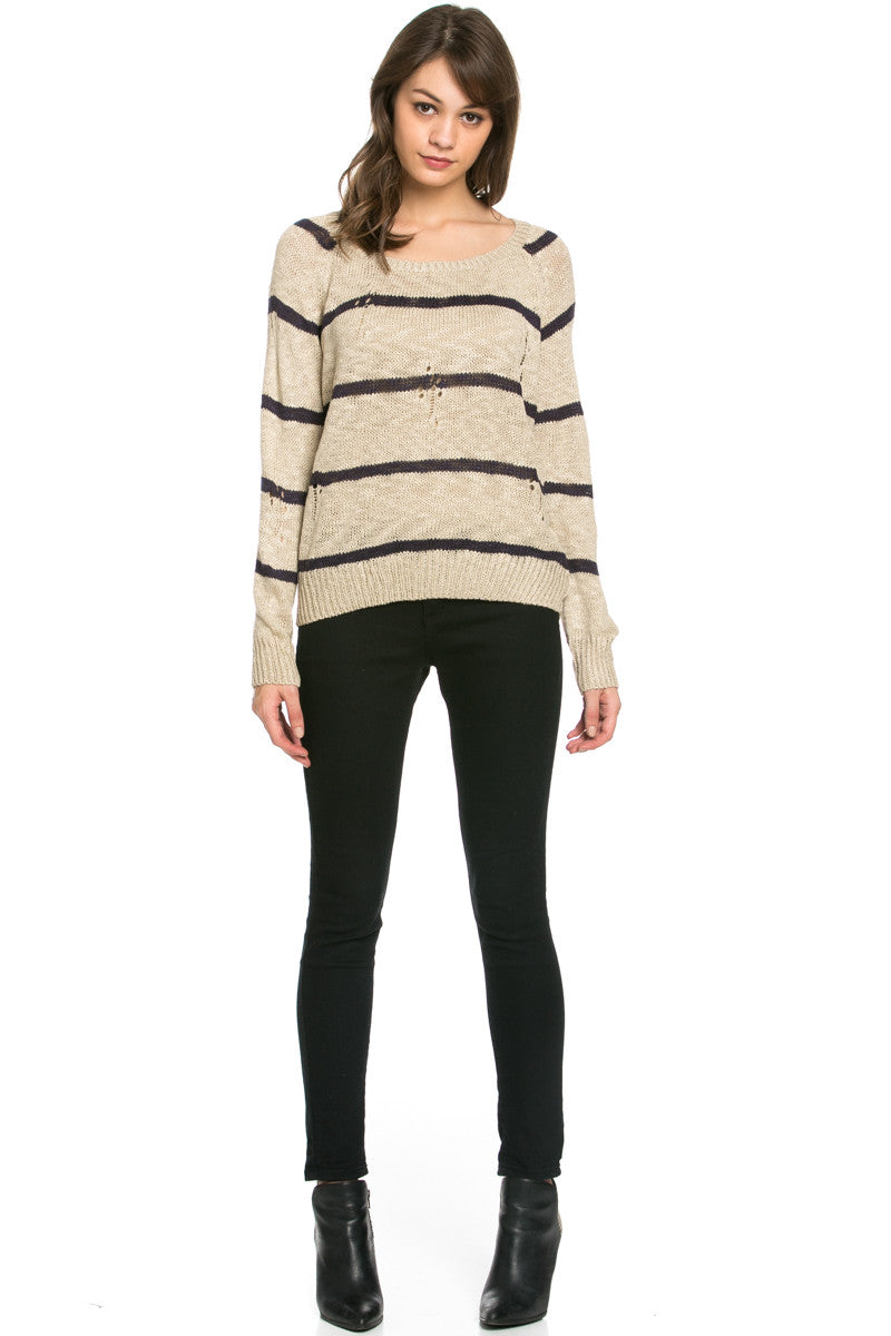 Round Neck Striped Sweaters Coffee - Sweaters - My Yuccie - 5