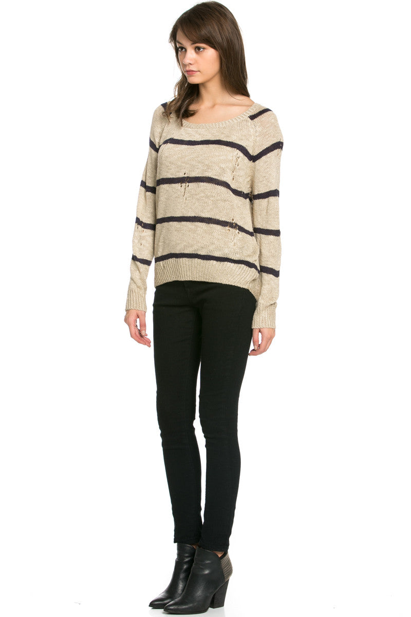 Round Neck Striped Sweaters Coffee - Sweaters - My Yuccie - 6