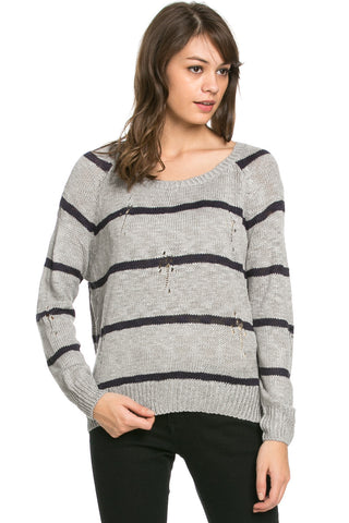 Round Neck Striped Sweaters Grey - Sweaters - My Yuccie - 1