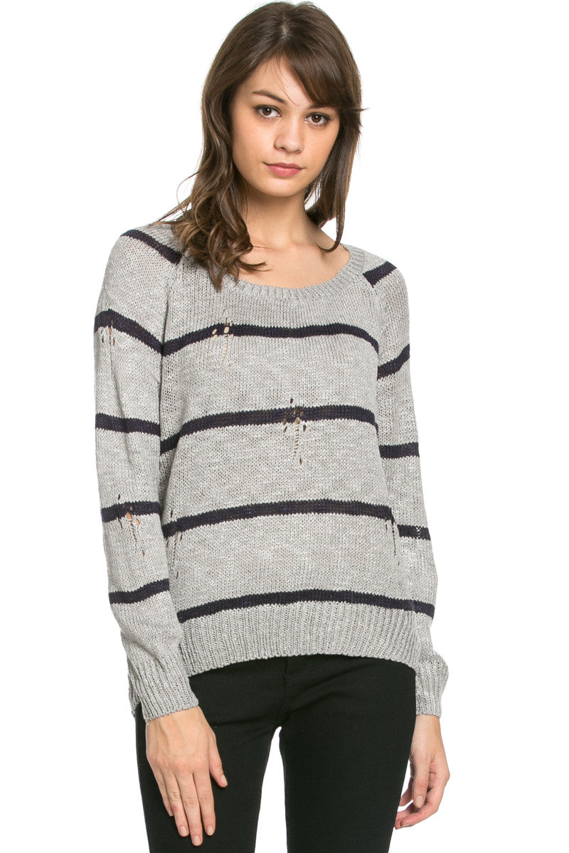 Round Neck Striped Sweaters Grey - Sweaters - My Yuccie - 2