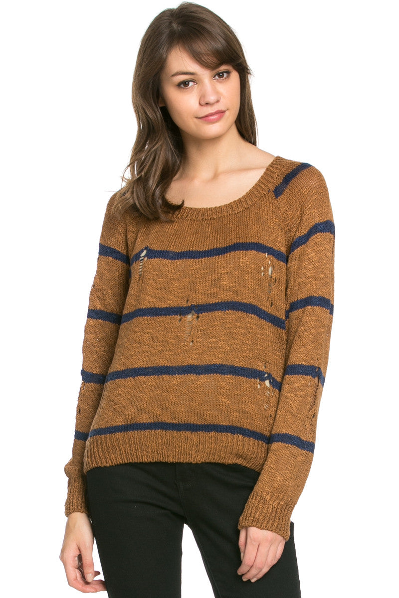 Round Neck Striped Sweaters Mocha - Sweaters - My Yuccie - 1