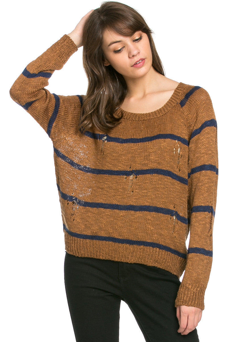 Round Neck Striped Sweaters Mocha - Sweaters - My Yuccie - 2