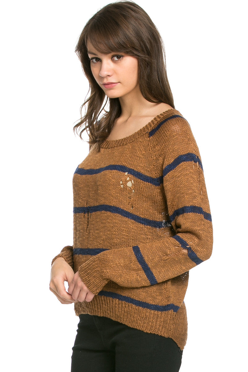 Round Neck Striped Sweaters Mocha - Sweaters - My Yuccie - 3