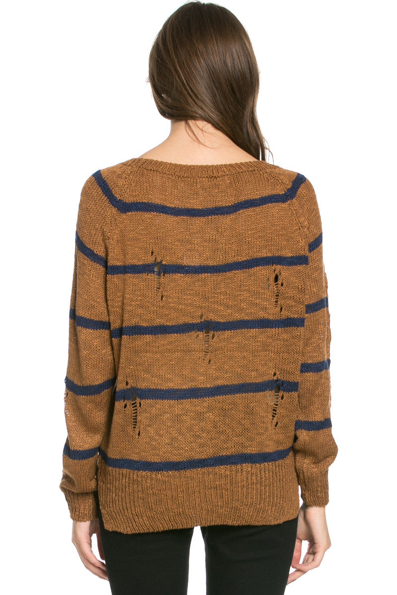 Round Neck Striped Sweaters Mocha - Sweaters - My Yuccie - 4